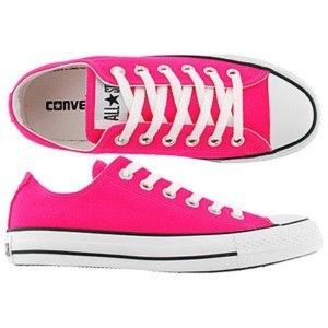 Converse All Stars neon pink low top sneakers